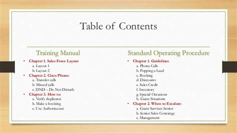 table of contents sle training manual and sop