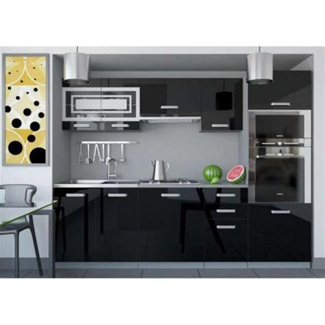 cuisine noir laqué pas cher justhome paula 1 cuisine équipée complète 240 cm couleur noir blanc laqué haute brillance