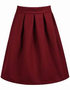 High Waist Wine Red SkirtFor Women-romwe