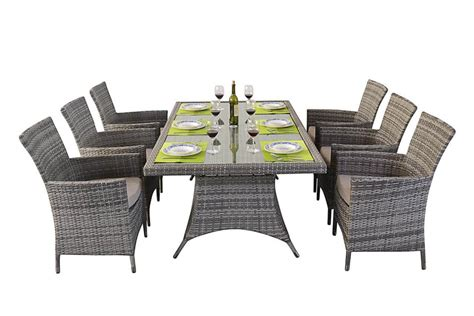 rustic rattan rectangle dining table 6 chairs patio