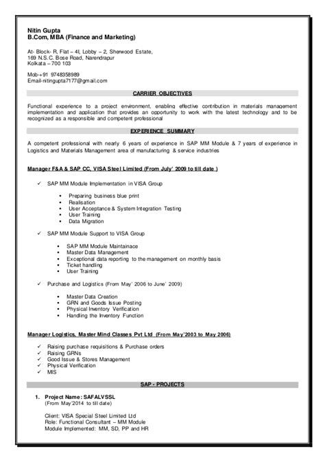 Resume Creation Pdf by Resume Sap Mm