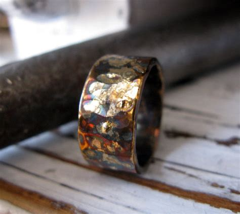 rustic mens wedding band oxidized sterling silver