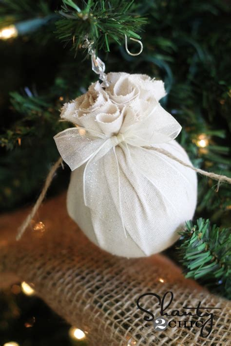 diy christmas ornament easy fabric balls shanty  chic