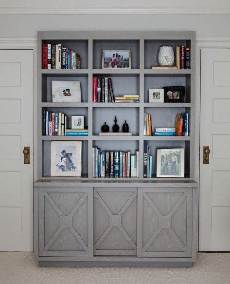 gray bookcase with doors shelving bookcase with x detail grey home office built