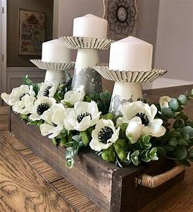 Dining, Room, Centerpiece, With, Candles