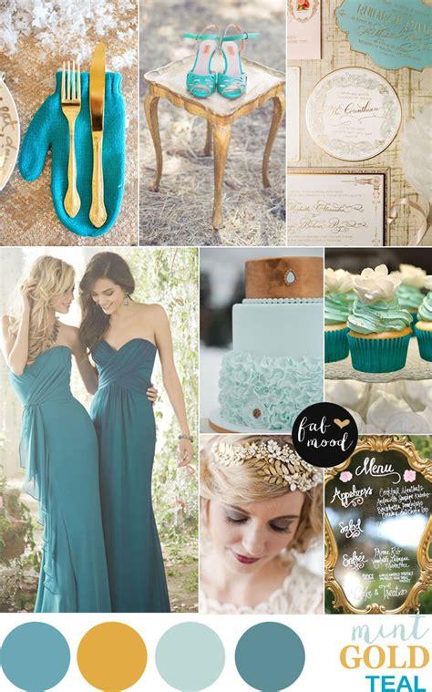 gold mint  teal wedding