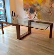 Dining Room Table Glass Glass Top For Dining Table With Wooden Legs Modern Large 10 Seater Glass Stainless Steel Dining Table 240 X 110cm Glass Dining Room Table Modern Wood Interior Home Design Kitchen Round Glass Dining Table Set For 4 Granite Dining Table Dining Room