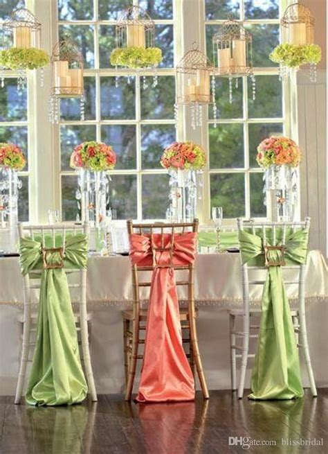 2018 Two Color Orange And Green Satin Wedding Decorations