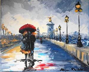 Peinture De Paris Poissy : paris pluie les amoureux du pont alexandre iii urban ~ Premium-room.com Idées de Décoration
