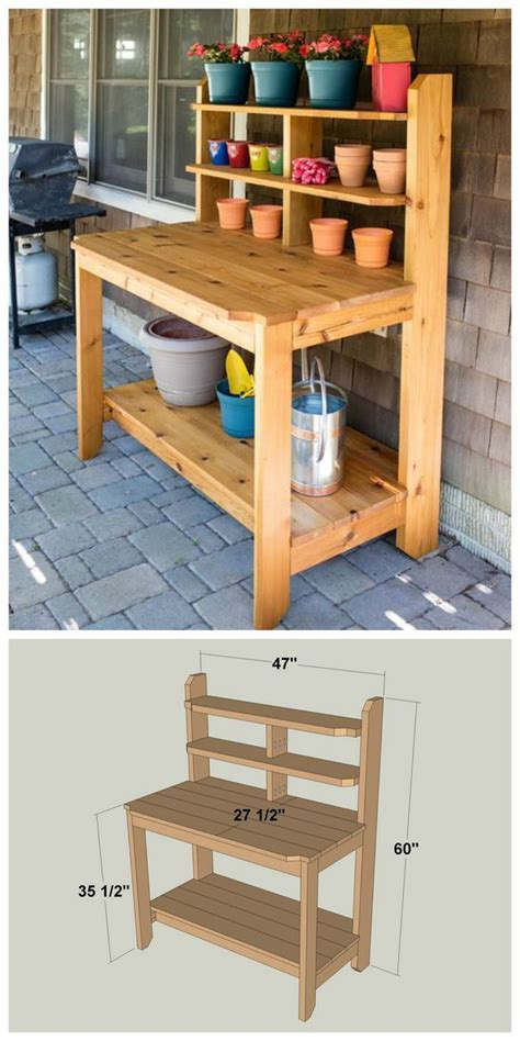 DIY Built To Last Potting Bench :: FREE PLANS at http