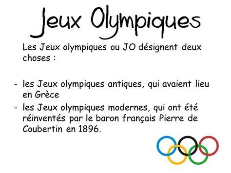 les jeux olympiques ou jo d 233 signent deux choses ppt t 233 l 233 charger