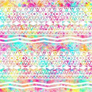 Aztec Splash | White Tribal Abstract Aztec Neon Rainbow ...