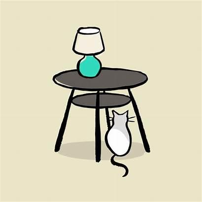 Table Under Vector Cat Clip Illustrations Side