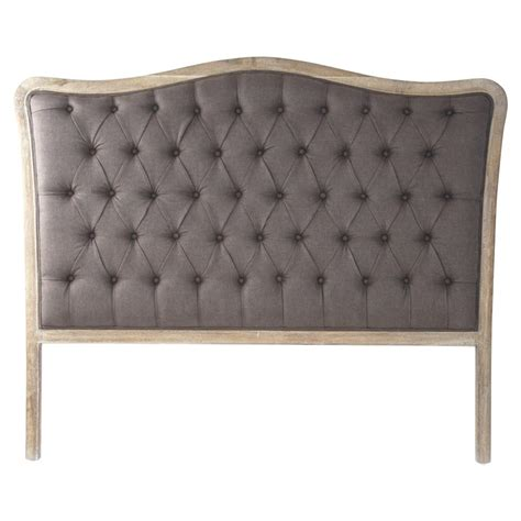 shabby chic tufted headboard lille shabby chic grey oak brown linen tufted headboard queen kathy kuo home