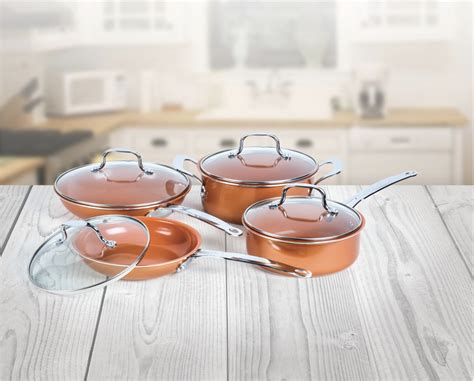 innova pc  stick ceramic coated copper cookware set