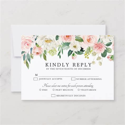 Blush Pink Florals Modern Botanical Wedding RSVP Card