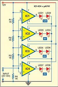 Led Voltmeter Note  You Can Use Lm324 Instead Of  U03bc741 In 2019