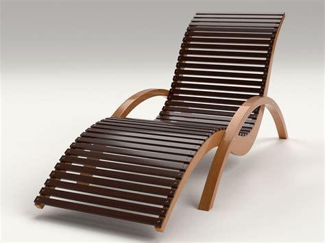 lounge chair outdoor wood patio deck  model obj