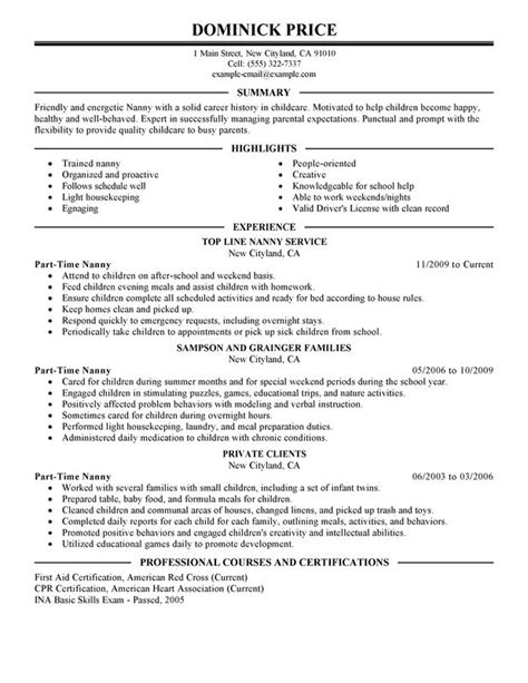 nanny responsibilities resume part time nanny resume sle my resume