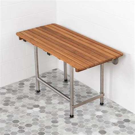 Wall Mounted Folding Shower Seat With Legs - ada compliant foldup teak shower seats and benches
