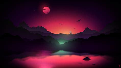 Wallpaper Couple, Alone, Sunset, Neon, Mountains, Moon, Hd