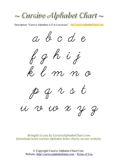 Cursive Alphabet Charts For Kids Free Printable Cursive Letters Writing Charts To Print In Pdf