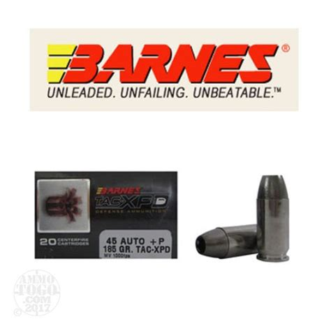 barnes tac xpd 45 acp auto jacketed hollow point jhp ammo for by
