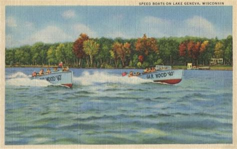 Boat Angel Wisconsin by Vintage Boating Postcard From Lake Geneva Wisconsin