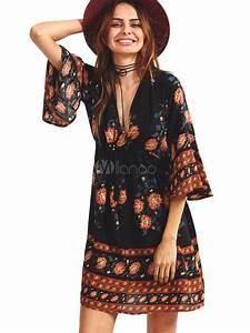 boho robe noire v manche 3 4 longueur bell manches imprime With robe noir manche 3 4