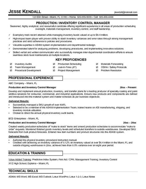 Inventory Controller Resume by Exle Production And Inventory Manager Resume Free Sle