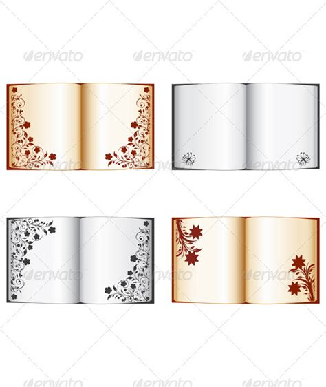 books for decoration set of the open books with floral decorations graphicriver
