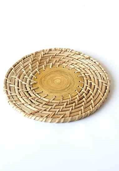 mother earth news natural home woven bamboo  trivet
