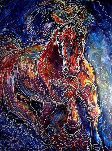 art powerful batik equine abstract batik  artist