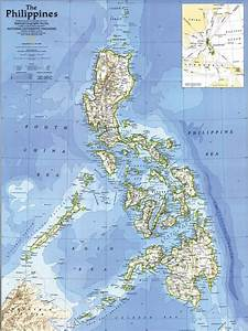 Detailed road and topographical map of the Philippines ...