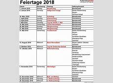 Feiertage 2018 in Deutschland mit druckbaren Vorlagen