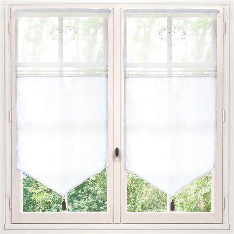 rideau court en coton blanc    cm eloise maisons