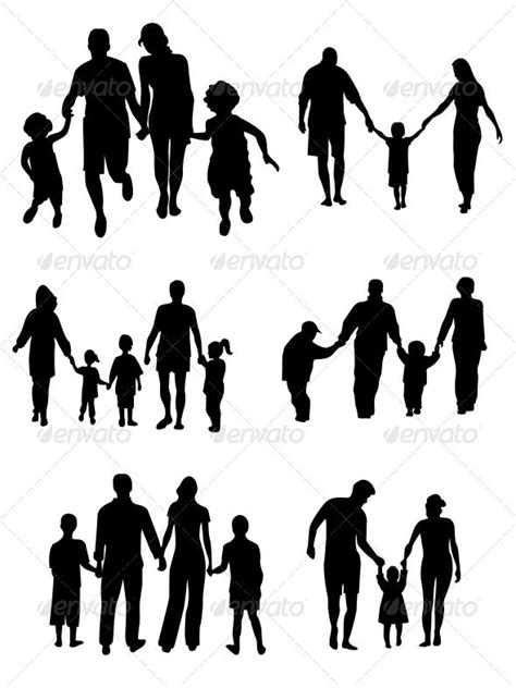 Family Silhouettes - Vector | Family tattoo designs