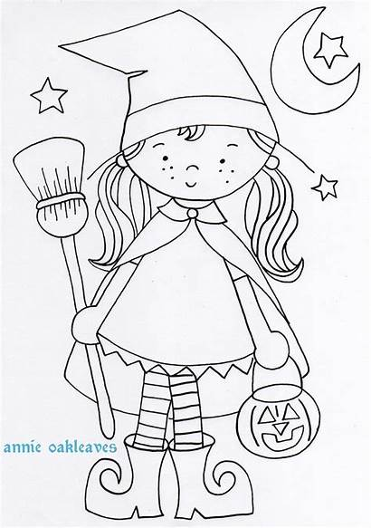 Coloring Halloween Pages Embroidery Witch Witchy Coloriage