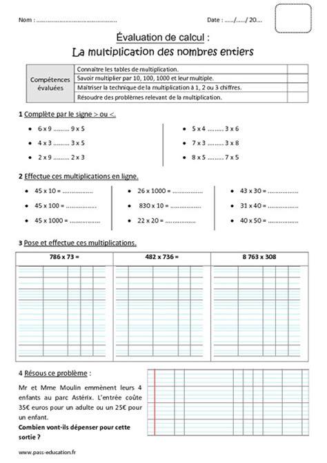 nombres entiers multiplication cm1 bilan 224 imprimer pass education