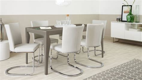 dining table set 6 seater 6 seater dining set cantilever chairs taupe grey gloss