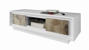 Meuble Tv Blanc Laqué Et Bois : meuble tv solna 2 portes bois pero structure laqu e blanc mat mobilier moss ~ Teatrodelosmanantiales.com Idées de Décoration