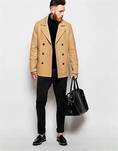 lyst asos wool peacoat in camel in natural for men With camel pea coat mens