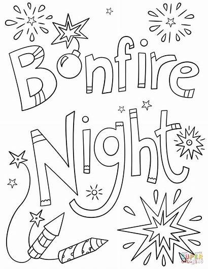 Bonfire Night Coloring Pages Printable Drawing Dot