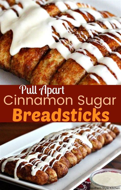 pull  cinnamon sugar bread sticks  cream cheese