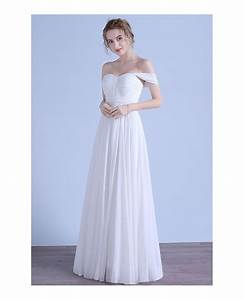 simple a line off the shoulder floor length chiffon beach With simple off the shoulder wedding dresses