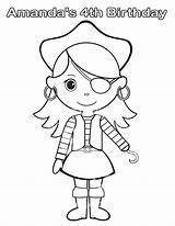 Pirate Coloring Pages Printable Drawing Birthday Personalized Pdf Activity Favor Drawings Piraten Childrens Female Step Meisjes Getcolorings Bright Kleuren Kinderen sketch template