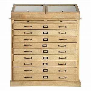Meuble Multi Tiroirs : cabinet semainier multi tiroirs naturaliste maisons du monde ~ Teatrodelosmanantiales.com Idées de Décoration