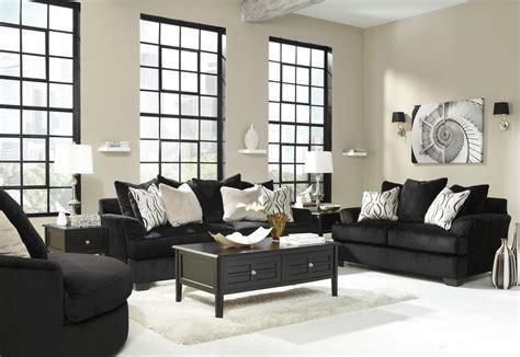 Ashley Heflin 4720038 4720035 Black Fabric Sofa and