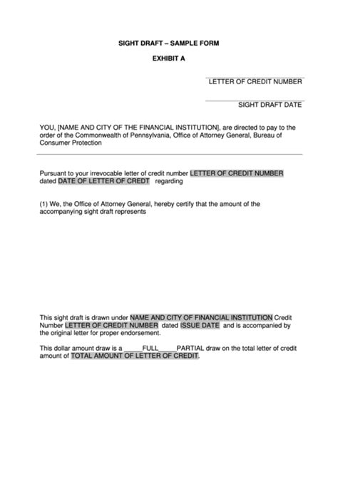 letter of credit draft template sight draft sle form exhibit a printable pdf