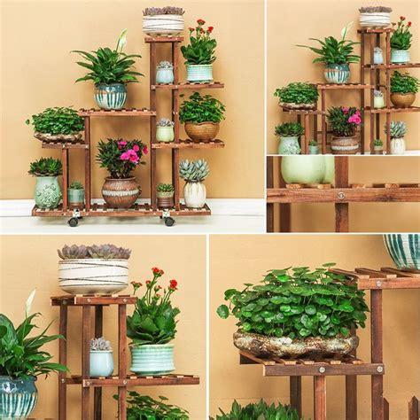 tier fir wooden plant flower display stand shelf rack holder  wheels walmartcom